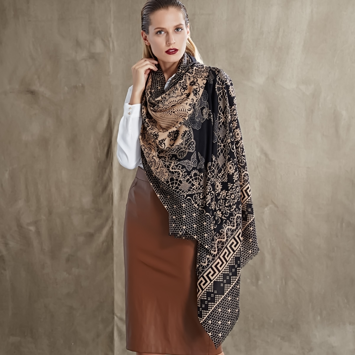 beautiful 100 wool scarf printing oblong scarves