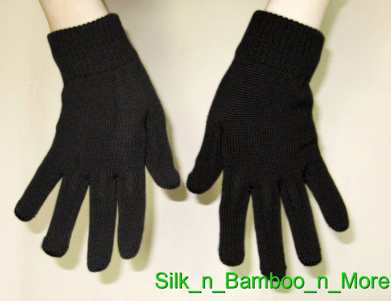 Unisex Knit Silk  Medium Thickness Gloves Black