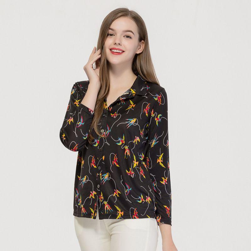 Women Silk Knit Long Sleeve Shirt  Women's 100% Natural Silk Knitted Printed Layering Shirt