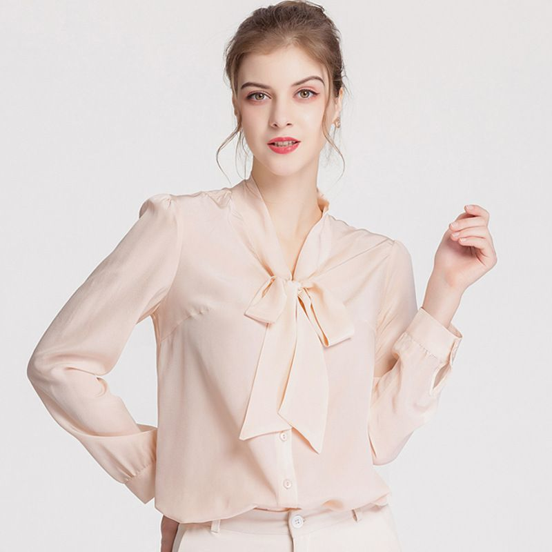 Natural Silk Shirt Women Long Sleeves Ladies Bow Neck 100% Silk Crepe Blouse