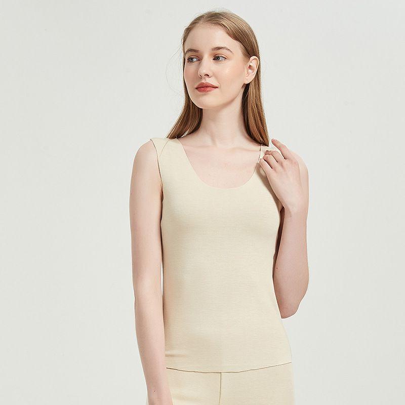 Womens Tank Top Self-heating Inner Mulberry Silk fabric Sueding
