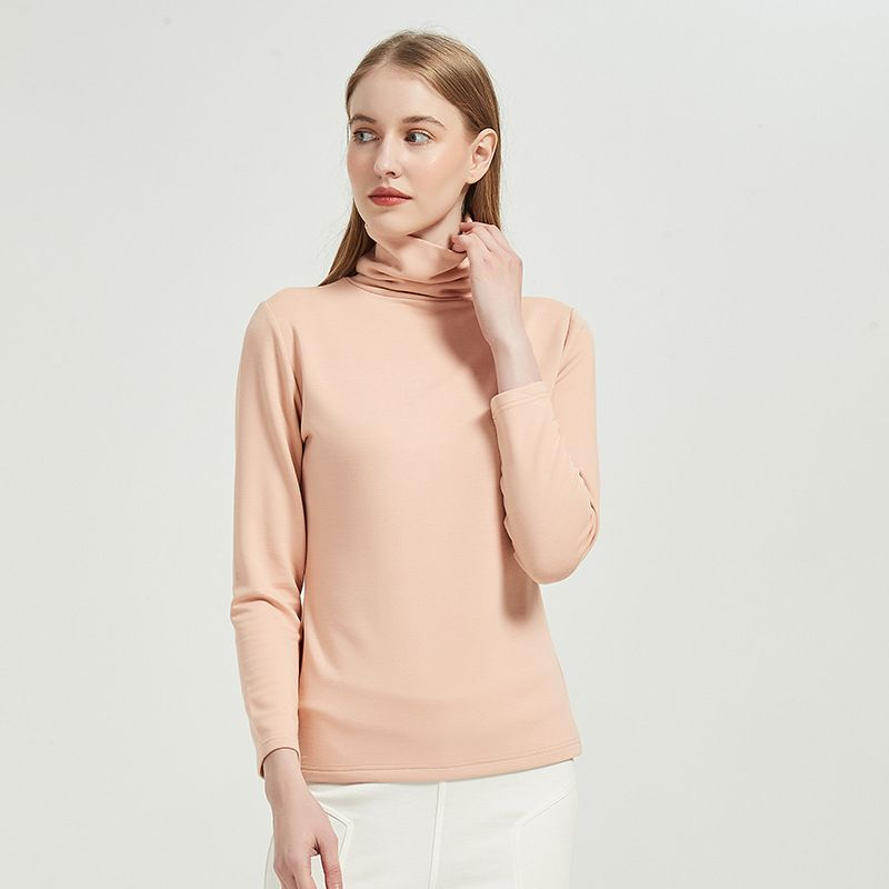 Womens Turtleneck Long Sleeve Base Layer Thermal Top With Inner  Mulberry Silk Fabric Sueding