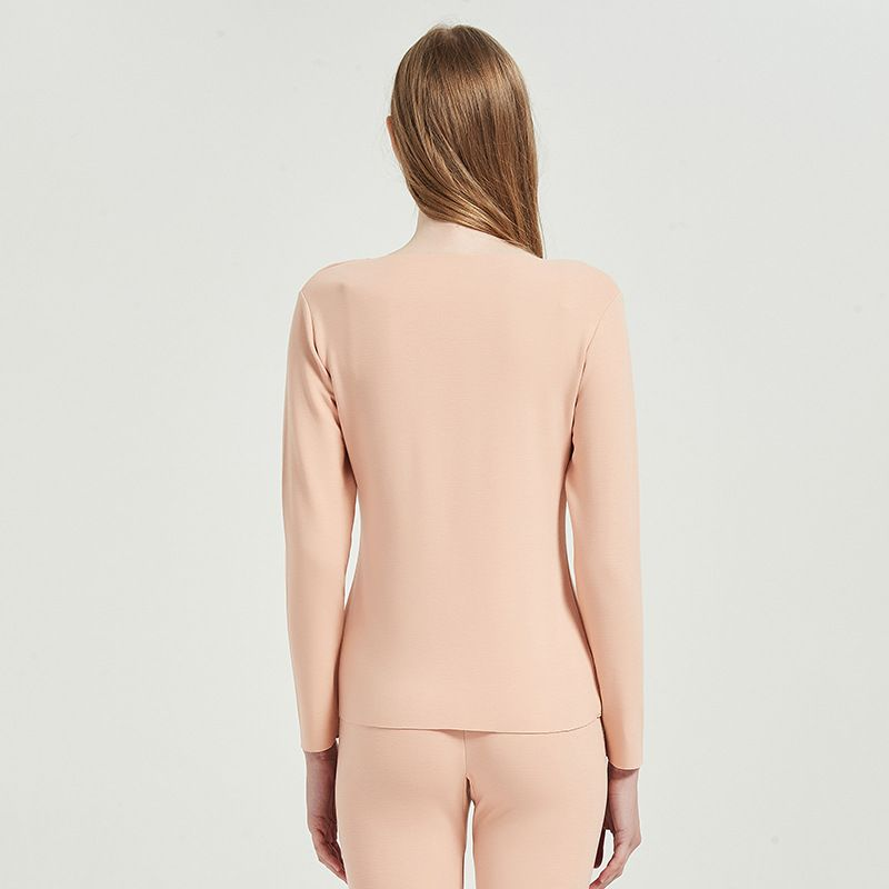 Womens Thermal Long Johns Set With Mulberry Silk Fabric Sueding Base Layer Top and Bottom 2Pcs Set