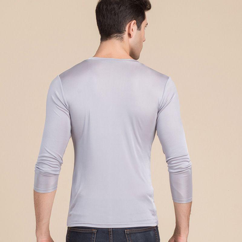 Men's Pure Silk V Neck Long Sleeves Long Johns Top Gray Back