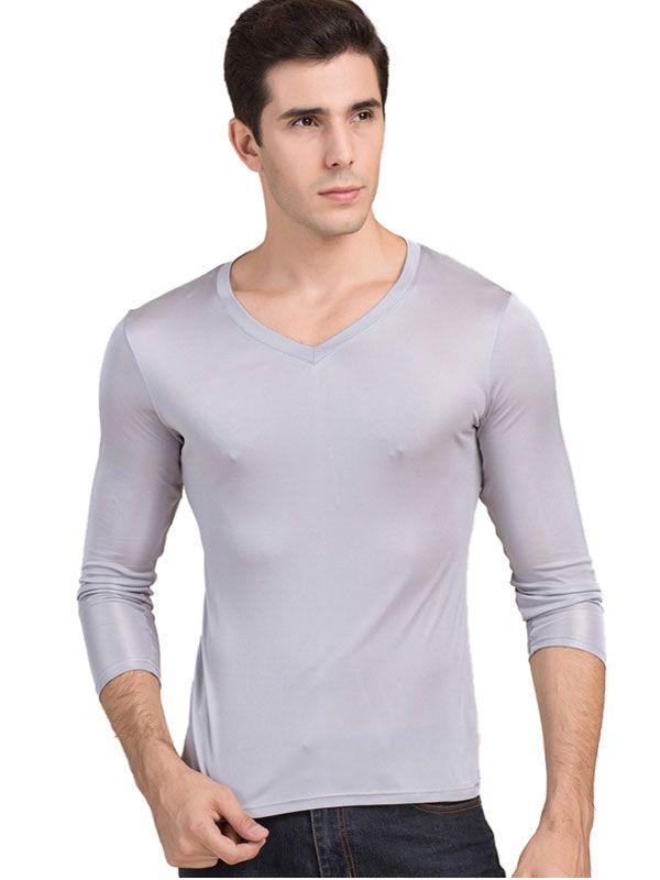 Men's Pure Silk V Neck Long Sleeves Long Johns Top Gray