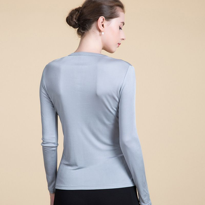 Womens Long Sleeves Natural Silk Knit Top Botton Notch Neck for Women Layering