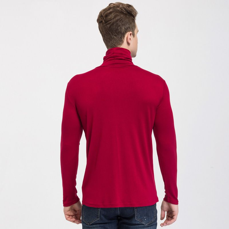 Mens High Collar Sweater Silk Cashmere Blend Turtleneck for Winter Layering