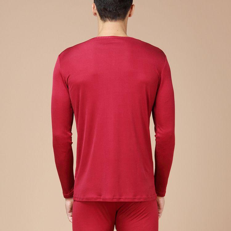 Men's Pure Silk Ribbed Long Johns Bottom & Top Set Red Back