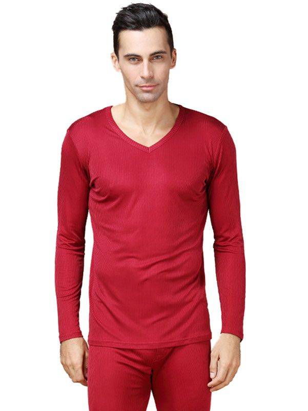Men's Pure Silk Ribbed Long Johns Bottom & Top Set Red
