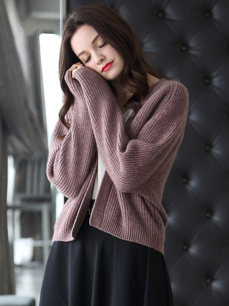 Yak  autumn and winter short thick long-sleeved sweater solid color casual sweater women's cardigan One Size