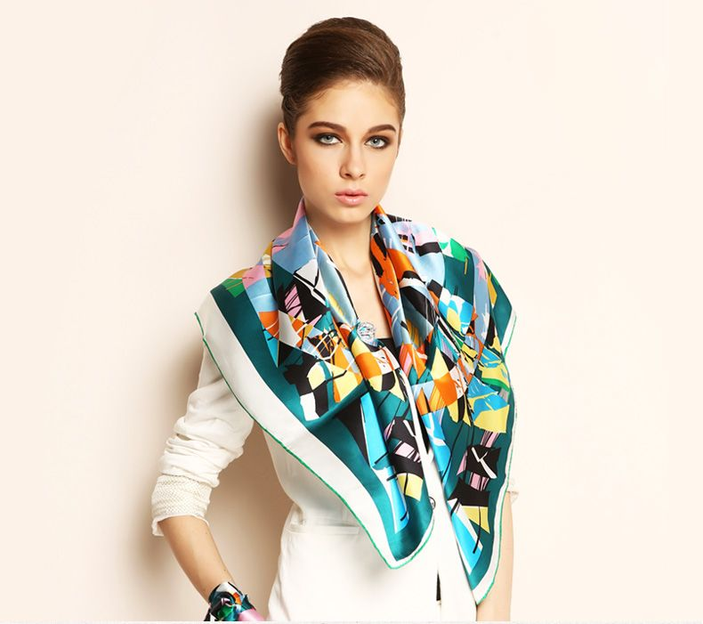 Elegant Pure Plain Silk Scarf Shawl Floral Large Square 35