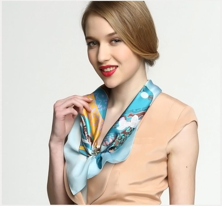 "Elegant Pure Plain Silk Scarf Stylish Printing Square Scarves 21""1021132211"