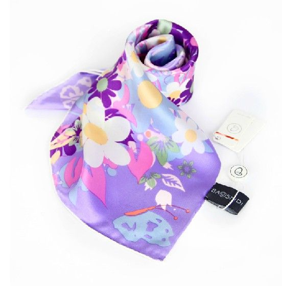 "Elegant Pure Plain Silk Scarf Floral Printing Square Scarves 21""1022102061"