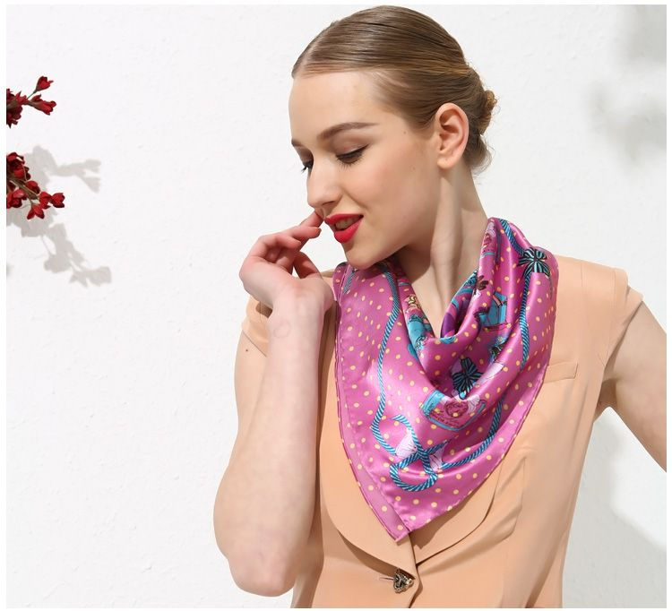 "Pure Silk Square Scarf Large Wrap Printing Shawl Scarves 26""W/Dot Pattern"