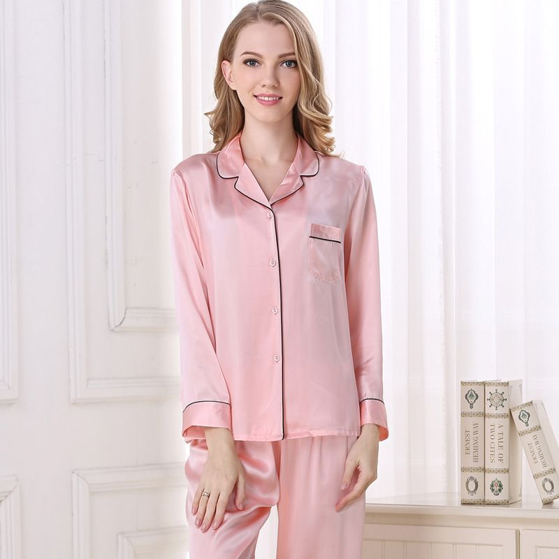 Natural Silk Women Pajamas Top & Bottom Two-piece Suit Long Sleeve Solid Pyjamas Set