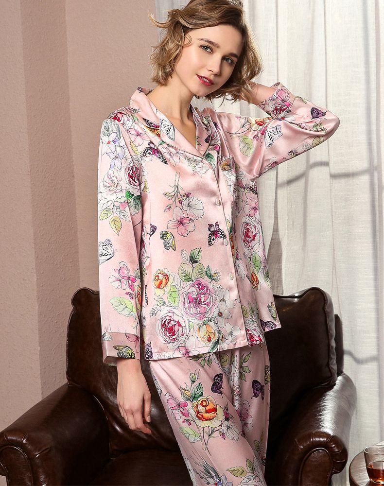 Natural Silk Women Pajamas Top & Bottom Two-piece Suit Long Sleeve Floral Print Pyjamas Set