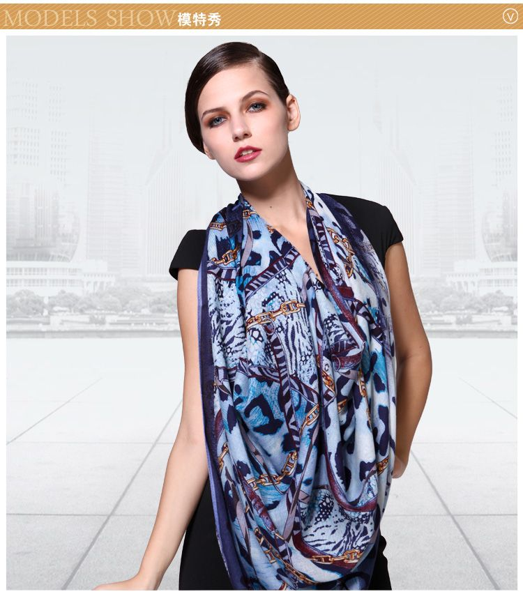 Elegant 100% Twill Wool Scarf Shawl Floral Large Square 45  2111100341