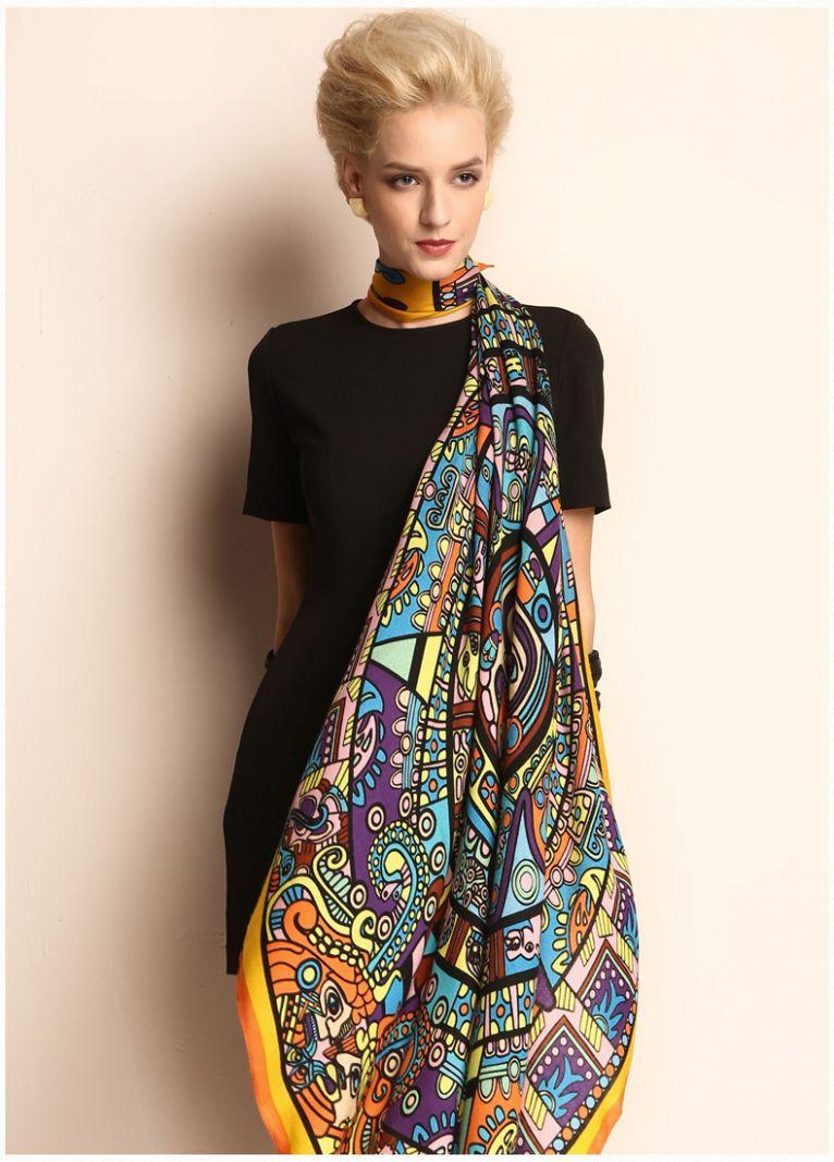Fashion 100% Twill Wool Scarf Shawl Floral Large Square 45