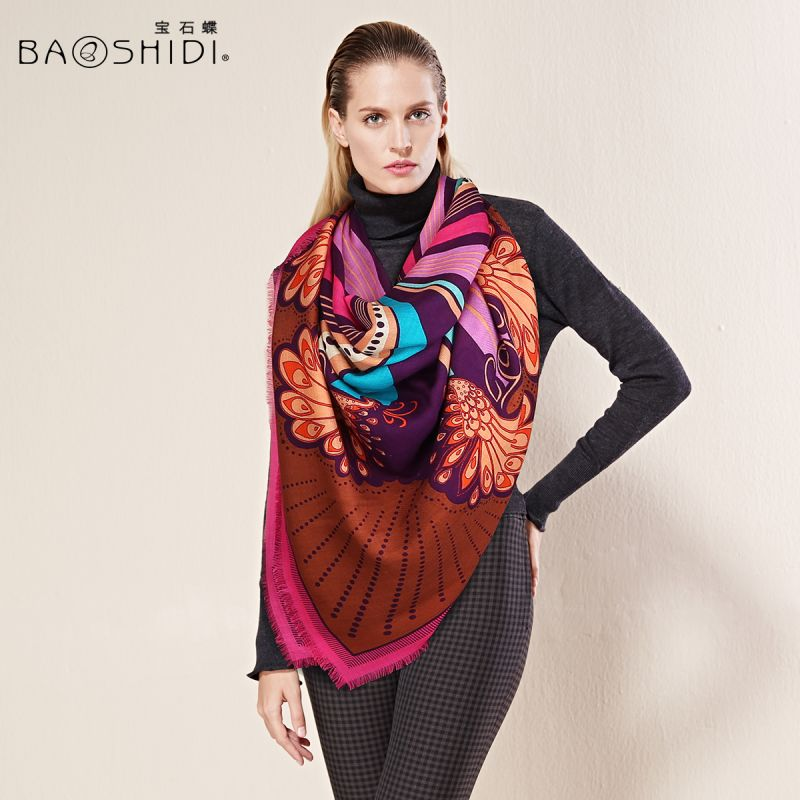Fashion 100% Twill Wool Scarf Shawl Floral Ex-Large Square 55