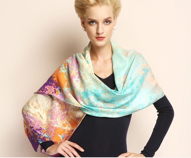Beautiful 100% Wool Scarf Printing Oblong Scarves L70XW22 2113121151