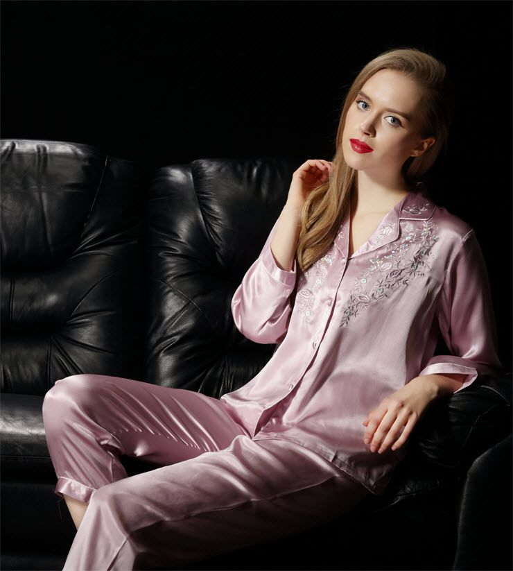 NWT Pure Silk Ladies Pajamas Set Womens US Size 2 6 10 12