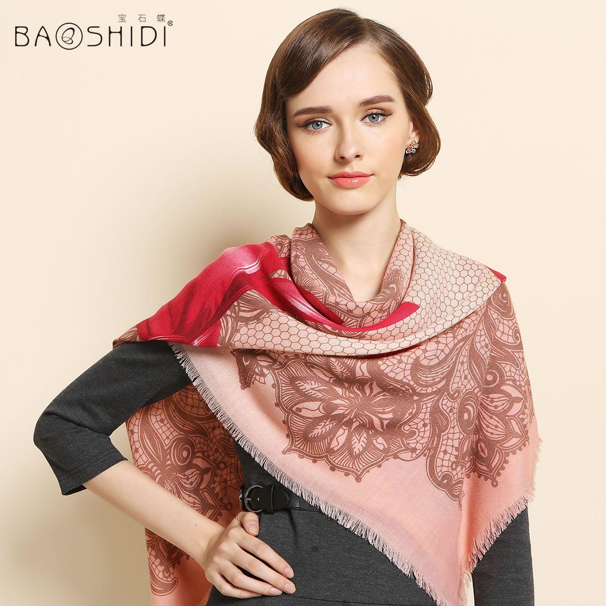 Fashion 100% Twill Wool Scarf Shawl Floral Ex-Large Square 51