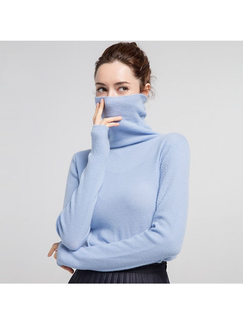 Womens High Collar Cashmere Sweater Long Sleeve Slim Turtleneck For Autumn and Winter Layering