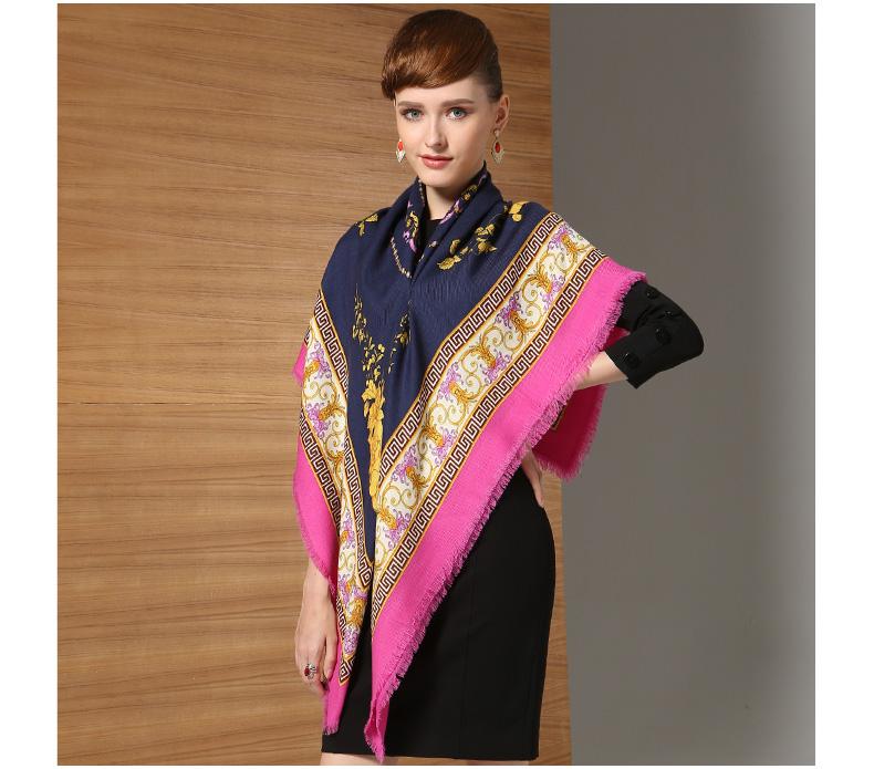 Elegant 100% Twill Wool Scarf Shawl Floral large Square Horizon Freehand