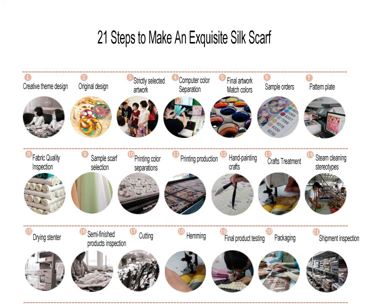 21 steps to make an exquisite silk scarf