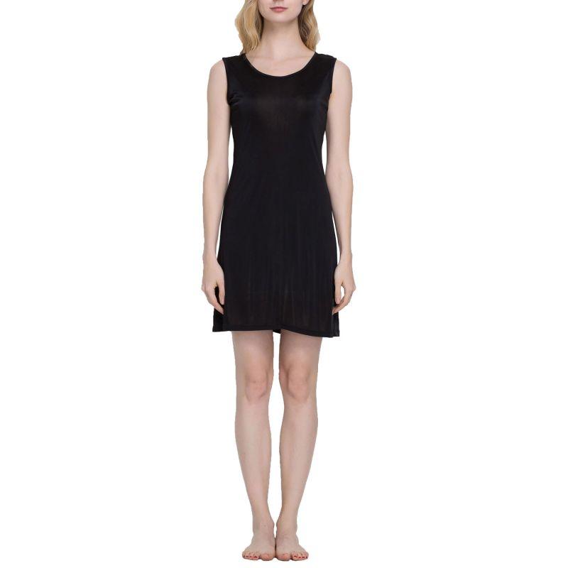 Pure Silk Knit Sleeveless Wide Shoulder Full Slips