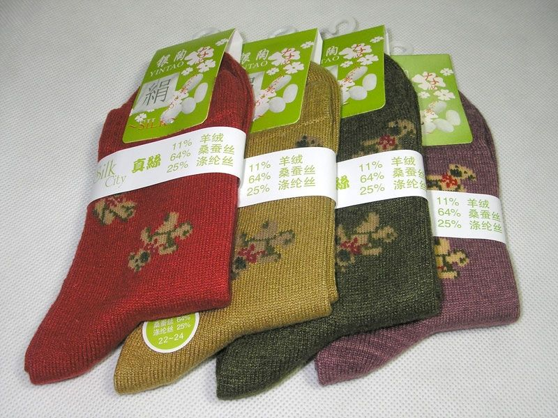 Lots 3 Pair Knit Silk/Cashmere Womens Thick Socks 22-24