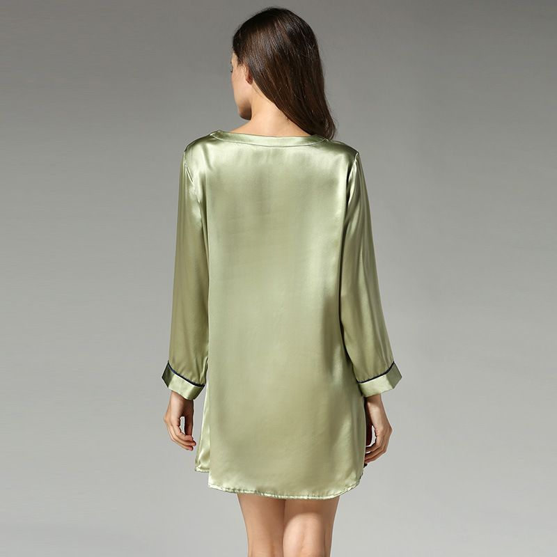 Pure Silk Night Shirts Long Womens Sleepshirt