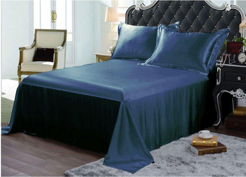 22MM Heavy Weight Silk Seamless Sheets Set Fitted Flat 4pcs Bedding Set Ocean Blue