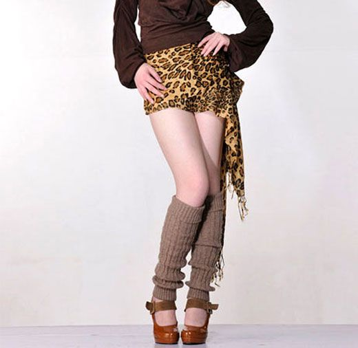 Fashion  Ribbed Soft Cable Knitting  Wool Leg Warmers 2403