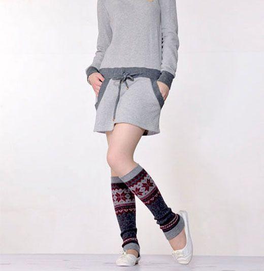 Fashion  Snowflake Pattern Knitting  Wool Leg Warmers 2425
