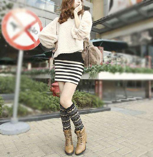 Fashionable Floral Pattern Knitting Wool Leg Warmers 2508
