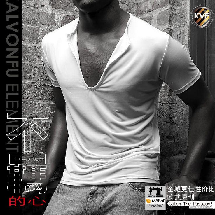 Sexy Men Modal Low U Neckline Short Shirt Top 5022