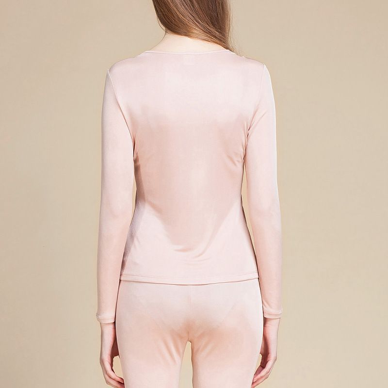 Womens 100% Silk Lace Neck Long Johns Top and Bottom Set Pink Back