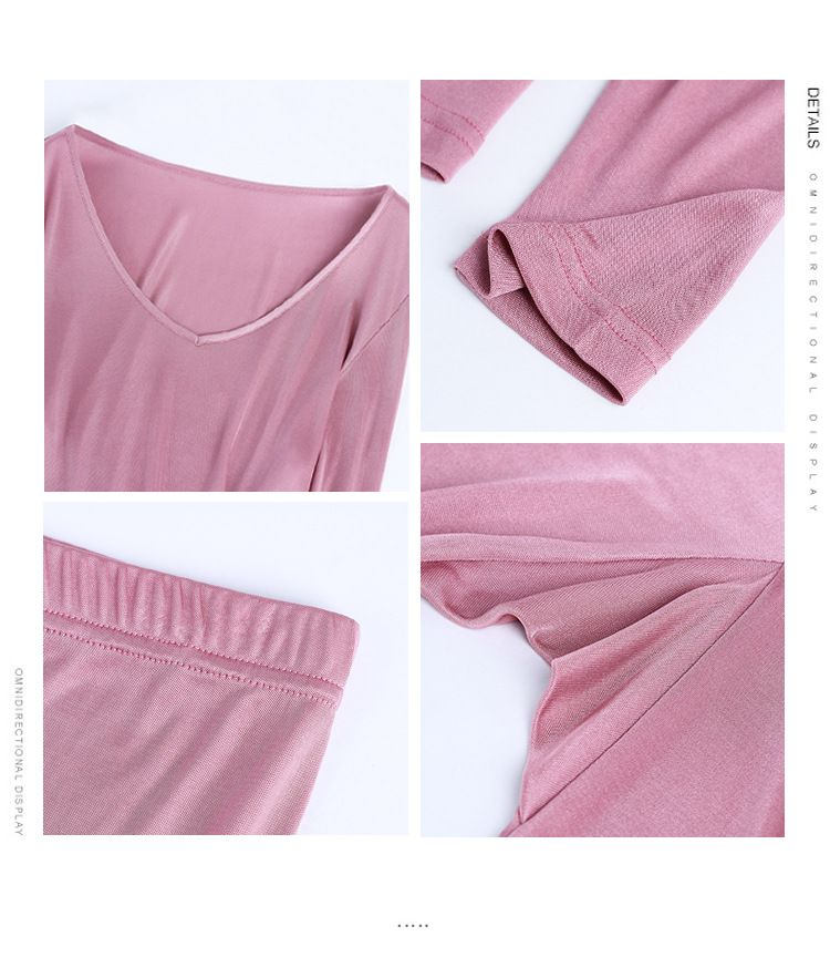 Silk Knit Women Base Layer Underwear V Neck Long Johns Top and Bottom Set