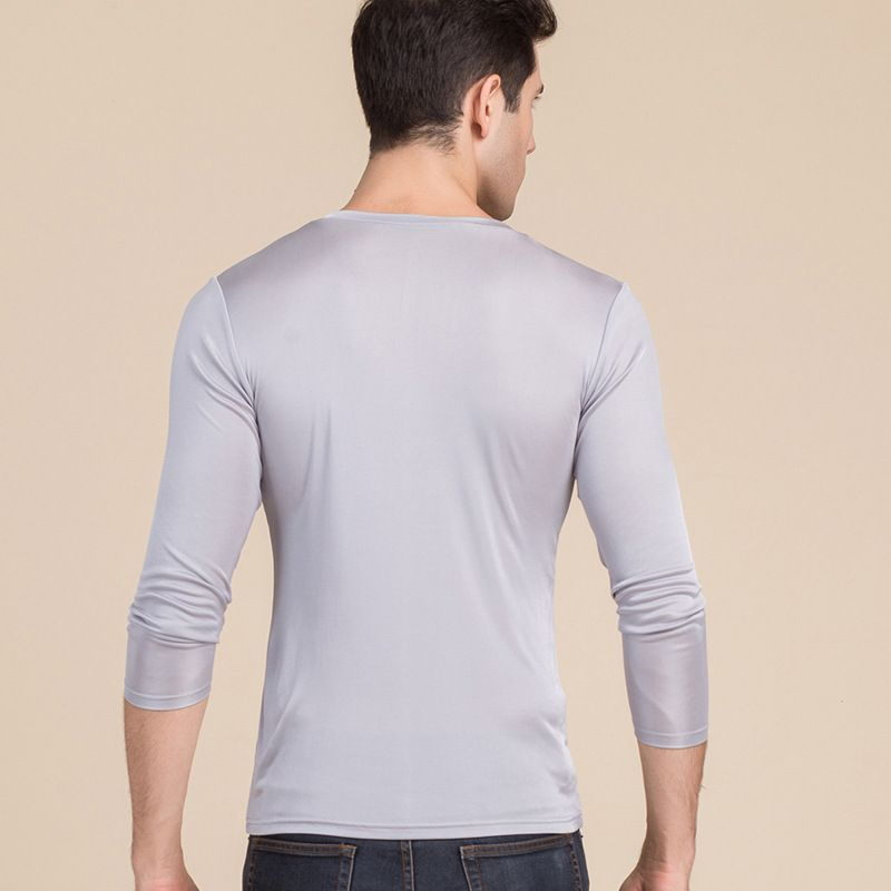 Men's Pure Silk V Neck Long Sleeves Long Johns Top Gray Back