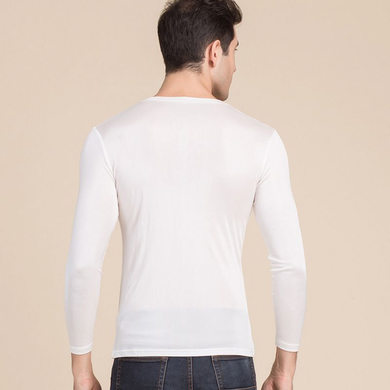 Mens Pure Silk Scoop Neck Long Sleeves Long Johns Top only White Back