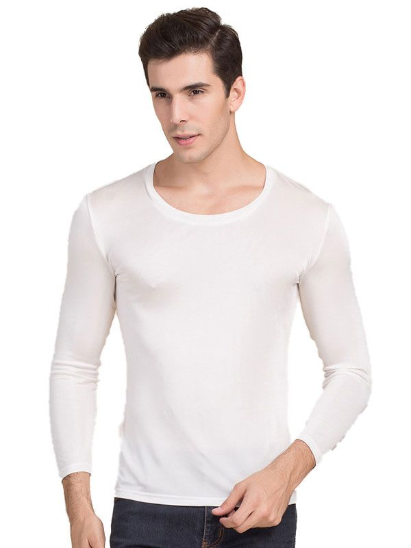 Mens Pure Silk Scoop Neck Long Sleeves Long Johns Top only White