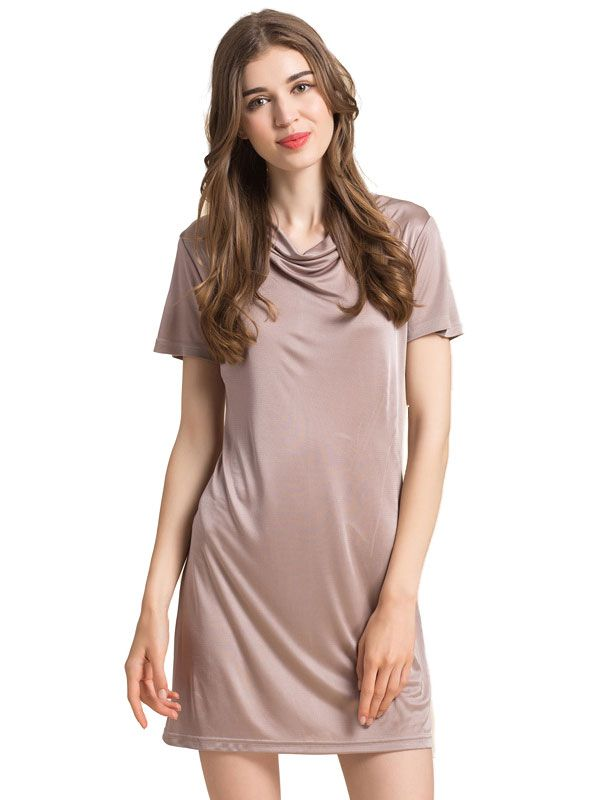 Womens Pure Silk Cowl Neck Short Sleeves Dress Slips