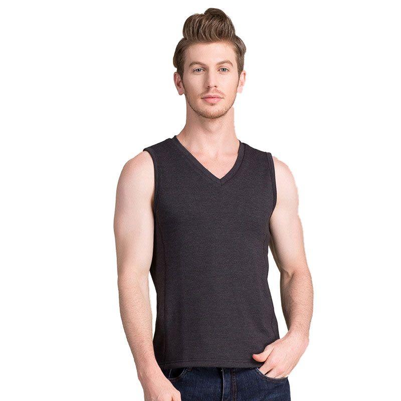 Natural Silk Cutting Piles Inner Thermal Vest Mens Tank Top Black