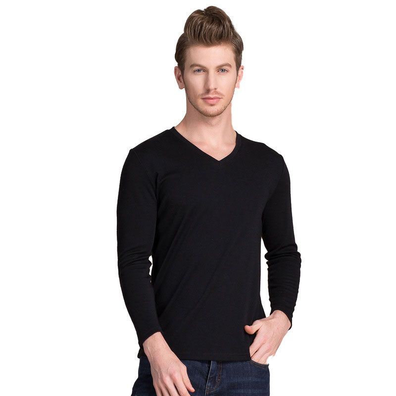 Cotton Silk Blend Mens Thermal Long Sleeves Top Black