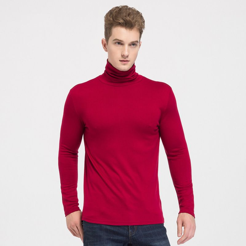 Mens High Collar Sweater Silk Cashmere Blend Turtleneck for Winter Layering