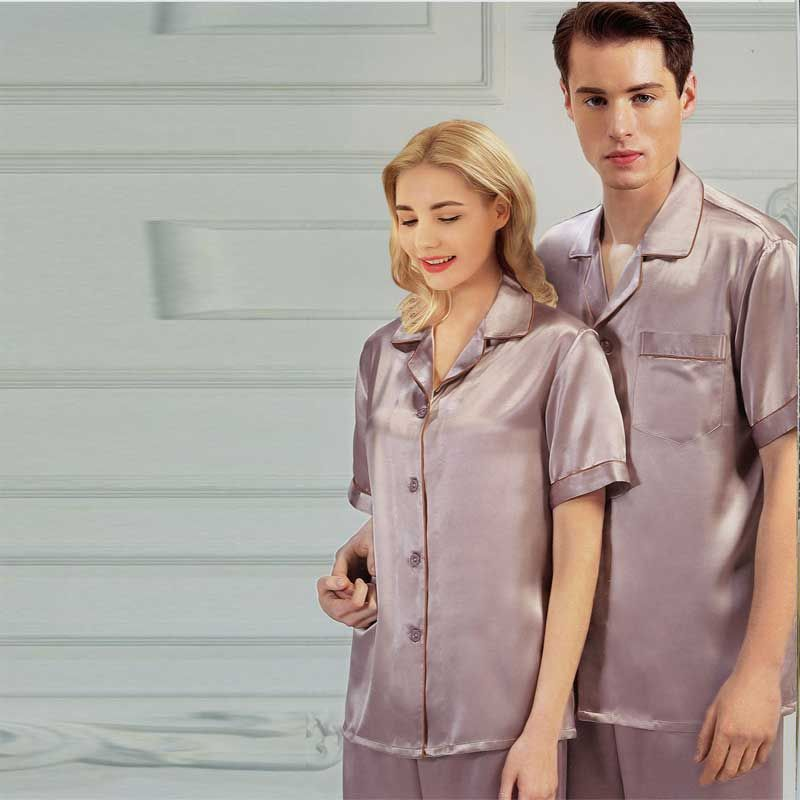 19MM Natrual Silk Pajamas Set for Couples Short-Sleeved Top and Bottom Suit
