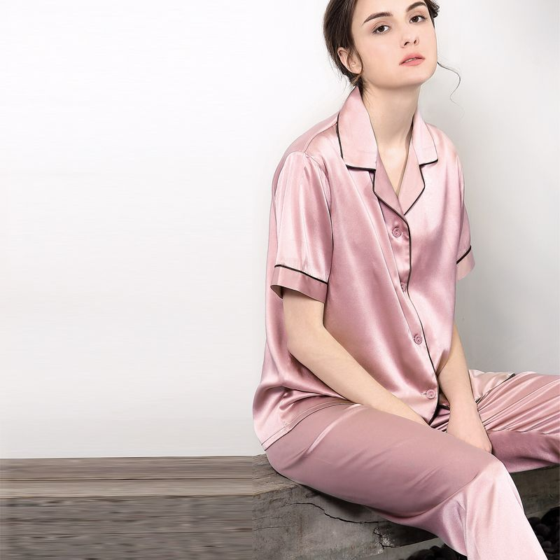 19MM Pure Silk Pajamas Set for Couples Short-Sleeved Top and Bottom Suit Womens Only