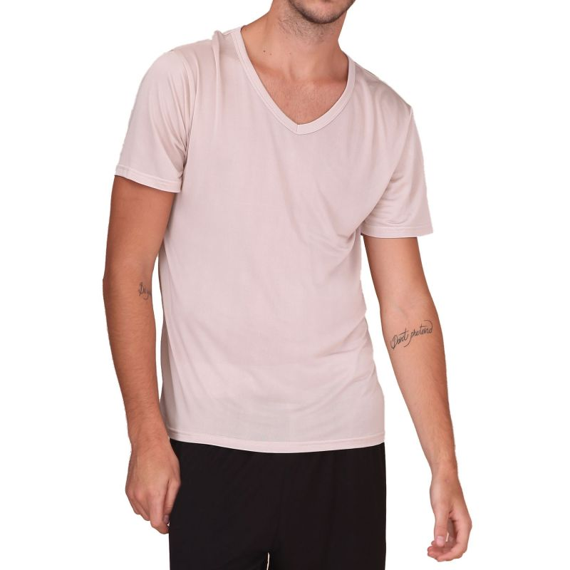 Pure Silk Knit NEW Mens Short Sleeves V-Neck Casual T-Shirt Tee Plain S M L XL