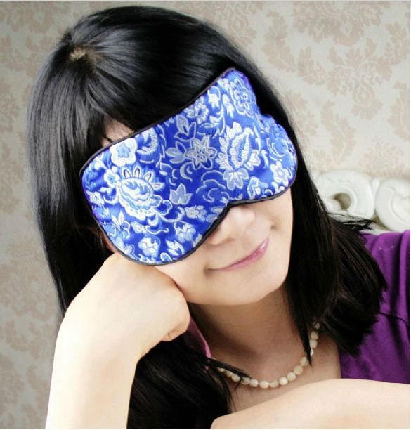 One Natural Silk Brocade Blue Eye Cover Sleep Mask Shade
